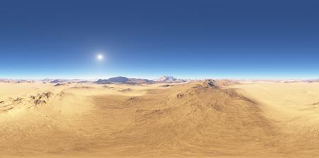 Panorama of desert landscape sunset, environment HDRI map. Equirectangular projection, spherical panorama. 3d rendering