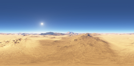 Panorama of desert landscape sunset, environment HDRI map. Equirectangular projection, spherical panorama. 3d rendering