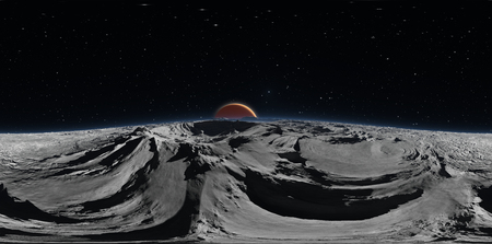 Panorama of Phobos with the red planet Mars in the background, environment HDRI map. Equirectangular projection, spherical panorama. 3d rendering