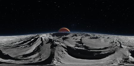 Panorama van Phobos met de rode planeet Mars op de achtergrond, milieu HDRI-kaart. Equirectangular projectie, bolvormig panorama. 3D-rendering Stockfoto