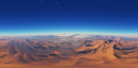 Panorama of fantasy landscape sunset, environment HDRI map. Equirectangular projection, spherical panorama. 3d rendering