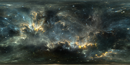 Space background with nebula and stars. Panorama, environment 360 HDRI map. Equirectangular projection, spherical panorama. 3d illustration 写真素材