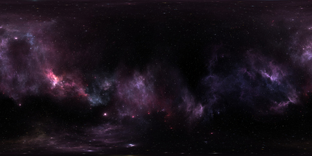Space background with purple nebula and stars. Panorama, environment 360 HDRI map. Equirectangular projection, spherical panorama. 3d illustration Stock Photo