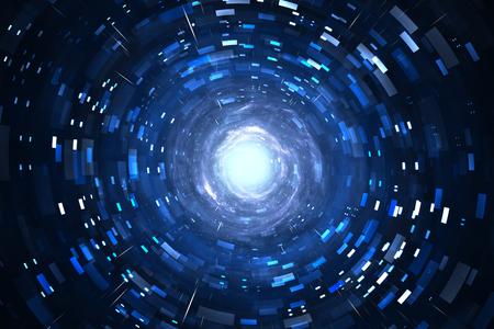 Time warp, reizen in de ruimte. Tijddilatatie, illustratie Stockfoto