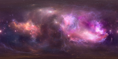 Space background with purple nebula and stars. Panorama, environment 360 HDRI map. Equirectangular projection, spherical panorama. 3d illustration 스톡 콘텐츠
