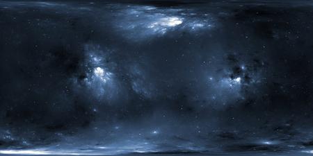 Stellar system and nebula. Panorama, environment 360 HDRI map. Equirectangular projection, spherical panorama. 3d illustration
