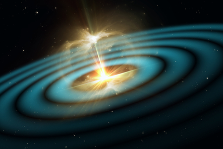 Gravitational waves, vibrations in spacetime, 3D illustration 版權商用圖片