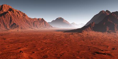 Tramonto su Marte, polvere oscurata dal paesaggio marziano. Illustrazione 3D