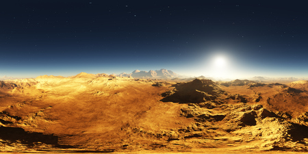 Panorama of Mars sunset. Martian landscape, environment 360 HDRI map. Equirectangular projection, spherical panorama. 3d illustration
