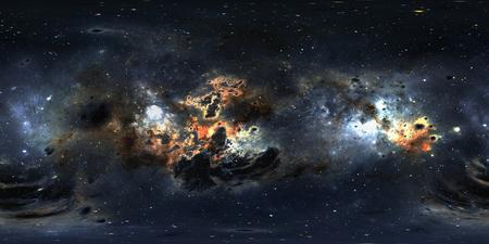 塵の星雲と星を持つ空間の背景。パノラマ、環境 360 HDRI マップ。等角投影、球状のパノラマ。3Dイラスト