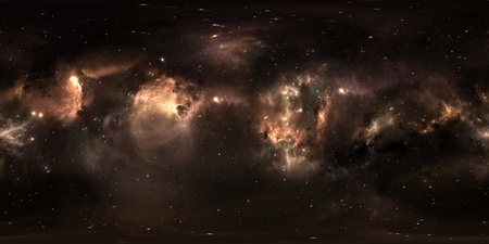 Space background with dust nebula and stars. Panorama, environment 360 HDRI map. Equirectangular projection, spherical panorama. 3d illustration Stock Photo