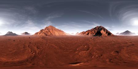 360 HDRI Panorama des Mars Sonnenuntergangs. Marslandschaft, Umgebungskarte. Gleichwinklige Projektion, sphärisches Panorama. Abbildung 3d