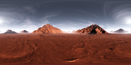 360 HDRI panorama of Mars sunset. Martian landscape, environment map. Equirectangular projection, spherical panorama. 3d illustration Banque d'images