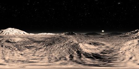 360 HDRI panorama of Mercury planet. Mercury landscape, environment map. Equirectangular projection, spherical panorama. 3d illustration