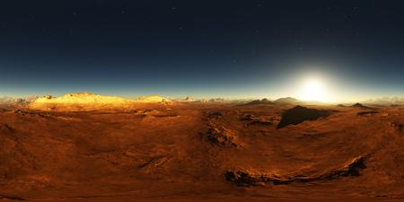360 Equirectangular projection of Mars sunset. Martian landscape, HDRI environment map. Spherical panorama Standard-Bild