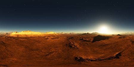 360 Equirectangular projection of Mars sunset. Martian landscape, HDRI environment map. Spherical panorama Stockfoto