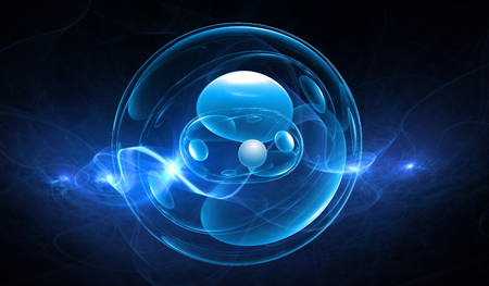 Synthetic cell in a blue background, 3D illustration Stock Photo