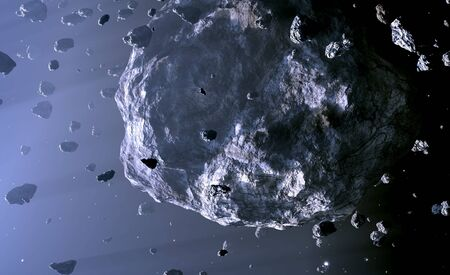 Asteroid Belt. Located between the orbits of Mars and Jupiter, 3d rendering