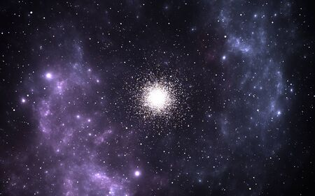 Globular cluster, spherical collections of ancient stars that orbits a galactic core. 3D illustration