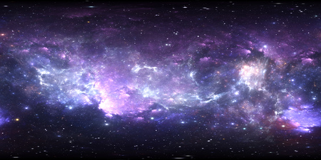 360 degree space panorama, equirectangular projection, environment map. HDRI spherical panorama. Space background with nebula and stars. 3d illustration