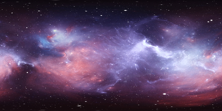 360 degree space nebula panorama, equirectangular projection, environment map. HDRI spherical panorama. Space background with nebula and stars. 3d illustration Archivio Fotografico - 100106243