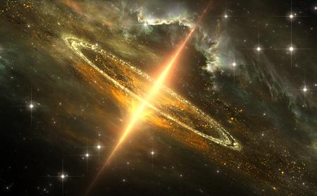 Buco nero supermassiccio nel centro galattico, singolarità gravitazionale, illustrazione 3D