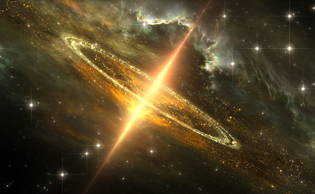 Supermassive black hole in galactic center, Gravitational singularity, 3D illustration Imagens