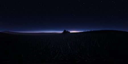 Night landscape with stars and the full moon. Panorama, environment 360 HDRI map. Equirectangular projection, spherical panorama. 3d illustration 스톡 콘텐츠