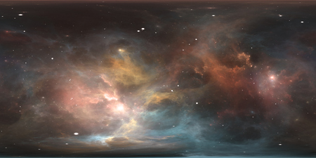 Space background with nebula and stars. Panorama, environment 360 HDRI map. Equirectangular projection, spherical panorama. 3d illustration 版權商用圖片