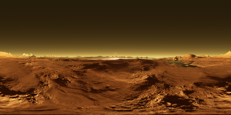 360 Equirectangular projection of Titan, largest moon of Saturn with atmosphere, HDRI environment map. Spherical panorama. 3d illustration