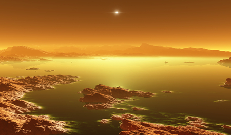 Titan, largest moon of Saturn with atmosphere. Surface landscape of Titan. Evaporating the hydrocarbon lakes. 3d illustration Stock fotó