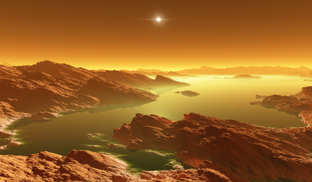 Titan, largest moon of Saturn with atmosphere. Surface landscape of Titan. Evaporating the hydrocarbon lakes. 3d illustration