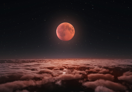 Longest total Lunar eclipse, blood moon over the clouds 2018.