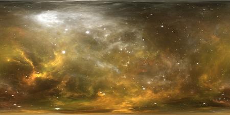 Virtual reality stellar system and nebula. Panorama, environment 360 HDRI map. Equirectangular projection, spherical panorama. 3d illustration