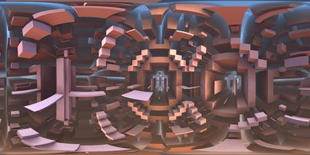 360 degree strange labyrinth world panorama, equirectangular projection, environment map. HDRI spherical panorama. 3d illustration