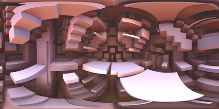 360 degree strange labyrinth world panorama, equirectangular projection, environment map. HDRI spherical panorama. 3d illustration