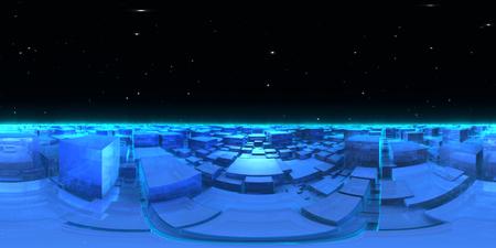 360 degree cubic world - planet panorama, equirectangular projection, environment map. HDRI spherical panorama. 3d illustration Stock Photo