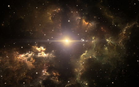 Parent supernova of our solar system. Interstellar cloud of dust and gas. Space background with nebula and stars. 3d illustration Stock fotó - 115621501