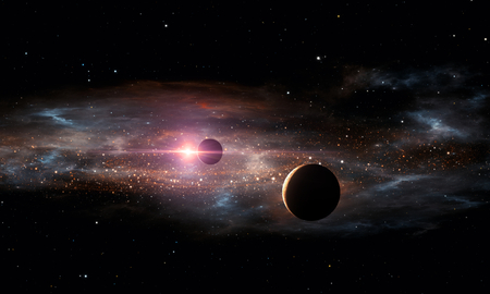 Extrasolar planets. Outer space, 3D illustration