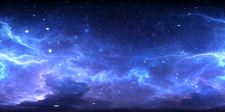 360 degree interstellar cloud of dust and gas. Space background with nebula and stars. Glowing nebula, equirectangular projection, environment map. HDRI spherical panorama. 3d illustration Stock Photo