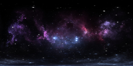 360 degree interstellar cloud of dust and gas. Space background with nebula and stars. Glowing nebula, equirectangular projection, environment map. HDRI spherical panorama. 3d illustration 版權商用圖片