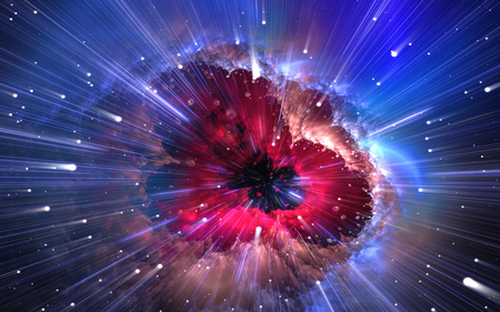 Quantum physics, time quantum travel. Nanocosmos, nanoworld. 3d illustration Stock fotó