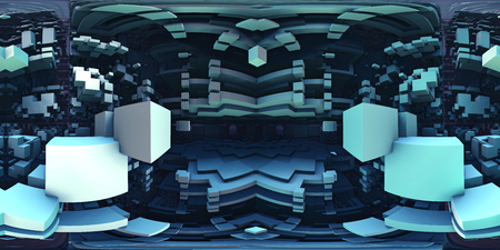 360 degree labyrinth, abstract maze background panorama, equirectangular projection, environment map. HDRI spherical panorama. 3d illustration 版權商用圖片