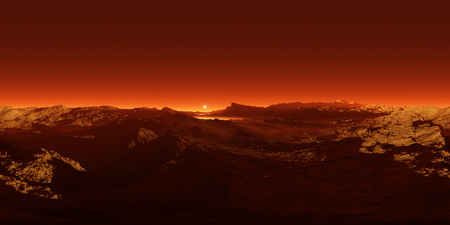 360 degree panorama of sunset on Mars, environment 360 HDRI map. Equirectangular projection, spherical panorama. 3d rendering