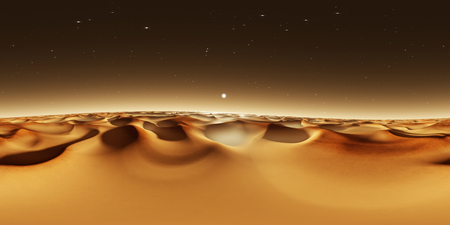 360 degree panorama of sunset on Mars, Mars sand dunes, environment 360 HDRI map. Equirectangular projection, spherical panorama. 3d rendering