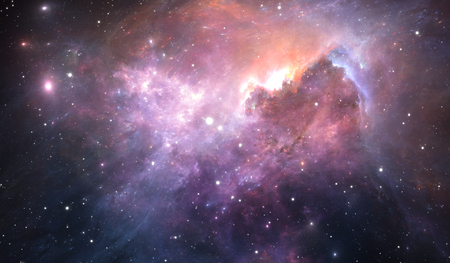 Glowing space nebula and stars in deep space, 3d illustration