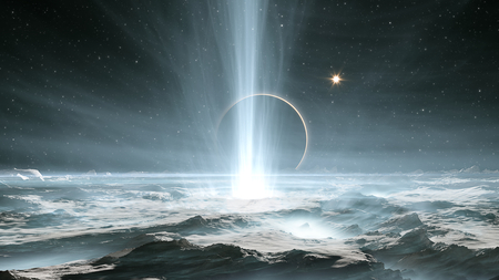 The huge geysers on Jupiters icy moon Europa. 3d illustration Фото со стока