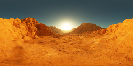 360 degree panorama of Mars sunset, environment HDRI map. Equirectangular projection, spherical panorama. Martian landscape, 3d rendering