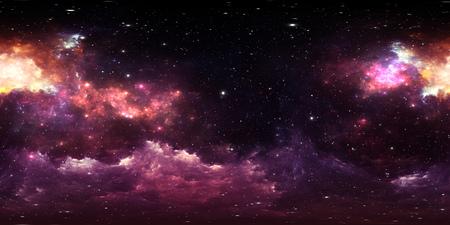 360 degree stellar system and gas nebula. Environment 360 HDRI map. Equirectangular projection, spherical panorama. 3d illustration