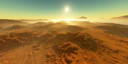 Sunset on Mars. Martian landscape. 3D rendering